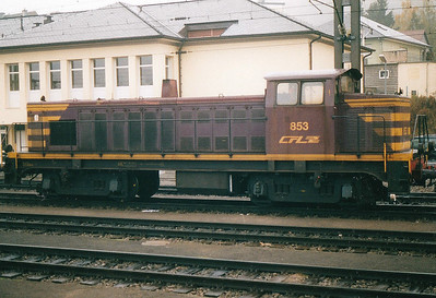 CFL - 853 - Class 850 Bo-Bo DE - 8 engines built 1956 by Brissonneau & Lotz for shunting and freight work - similar to SNCF Class 63500 - all withdrawn by 2007 - Petange Station/Yard pilot, 29/10/03.