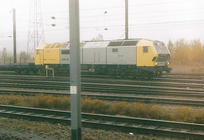 CFL - DE 2650-02 - 6 Class Di.6 Co-Co freight locos hired from Siemens Dispolok, originally built for NSB and refused - terrible picture of surely the most unlovely and unloved class of loco collecting a steel train at Belval Usines, 29/10/03.