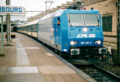 CFL - 185 521 - 20 engines, dual voltage, for local passenger/freight services, eventually using double-deck stock - backs into Luxembourg Station to collect the 1652 to Rodange, the only diagram they seemed to have, 30/10/03. This loco was on hire for testing.