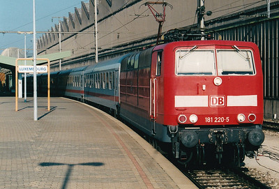 DB - 181 220 - Class 181/2 Bo-Bo Dual Voltage Electric - one of 25 locos built in 1974 for services into France and Luxemburg - seen here awaiting departure from Luxembourg with an afternoon service to Koln, 28/10/03.