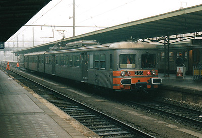 CFL - 256 - Class 250 2-car 25kv AC EMU - 6 built in 1975, similar to SNCF Z6100 Class, used on suburban services south of Luxemburg - all withdrawn by 12/05 - seen here running with the trailer from 254 on the 0950 Luxembourg - Rodange, 29/10/03.