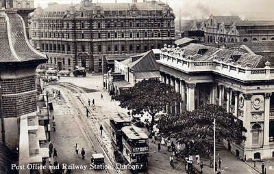 SOUTH AFRICA - DURBAN STATION - the classical edifice on the right, ssen in about 1915. Note steam lorry and trams.
