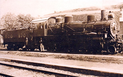 PALESTINE - ROD 870 - a US built ROD 2-8-0 (I think) seen here in the Middle East - note the crew seem to be military personnel - a number of these locos were supllied to Palestine Railways during and after World War 1.