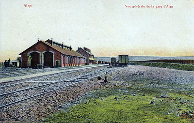 SYRIA - ALEPPO - the station and locomotive depot in about 1912. The Baghdad Railway reached this point in that year. Note the locomotive hidden behind the depot.