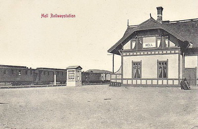 NORWAY - HELL STATION - located on the edge of the Arctic Circle, Hell is seen here in about 1910.