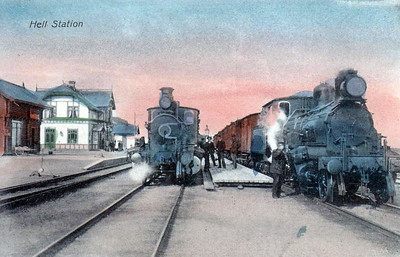NORWAY - HELL STATION - steam trains in Hell Station, just inside the Arctic Circle, freight on the right, passenger on the left, probably before World War 2.
