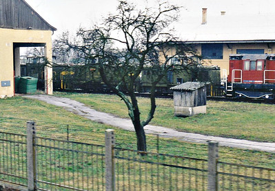 BOSANY (1) - Just north of the station is a large Army Depot, perhaps a disposal point, crammed with equipment of all descriptions, including a number of locomotives, perhaps as many as 10. It was a lousy day and I took my pictures as we passed, consequently details, such as engine numbers, are not decipherable, However, I have shown for the sake of interest. In this shot we can see 3 Army-liveried Class 710's and a Class 742, 08/03/07.