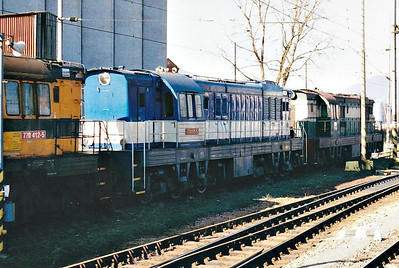 BRKS - 770 515 - 108 locomotives built 1967 to 1969 by SMZ, 28 for ZSR, for heavy shunting and freight duties - parked in Martin Station yard, awaiting entry to Works, 11/03/07.
