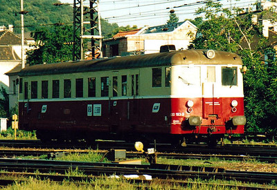 BRKS - Class 830 193 - 238 railcars built from 1949 to 1960 by various builders - all now withdrawn from CD & ZSR - goes on depot at Bratislava after working train Os2305, 0614 from Zahorska Ves, 10/08/05.