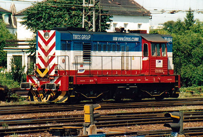 BRKS - 740 568 - 459 engines built 1973 to 1989 by CKD, basically industrial version of Class 742 - hired in from the Timos Group in the Czech Republic, this very smart loco is bound for the engineer's depot in Bratislava Hlavna Stanica, 02/08/05.