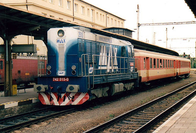 BRKS - 742 515 - 494 locos built by CKD from 1977 to 1986, in use with CD, ZSR and industry, maids of all work  - on hire from Max Cargo to work trains on the reactivated line to Zahorska Ves on the Austrian border, with secondhand OBB stock. Seen here at Bratislava, 13/08/04, the train I am about to board.