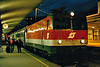 OBB - 1044 061 - 126 engines built from 1974 for mixed traffic duties - arrives at Jesenice on train MV415, 2135 Zurich - Belgrade, here to change engines, 29/10/04.