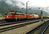 OBB - 1142 697 - 174 engines rebuilt from Class 1042.5 from 1995 for push/pull duties - pilots 1116 105 into Jesenice with a long mixed freight from Austria, 29/10/04, catching me half asleep again!