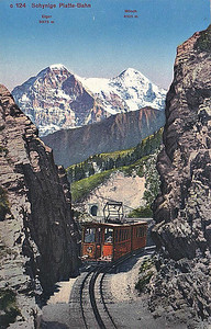 SCHYNIGE PLATTE BAHN - a 7.25km 800mm gauge rack railway running from Wilderswil to Schynige Platte in the Bernese Oberland. It is electrified at 1500vDC and has a maximum gradient of 1 in 4. The line was opened in 1893 and now runs a summer service only.