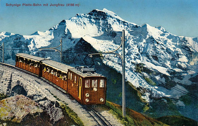 JUNGFRAUBAHN - a 9.3km rack railway that climbs 3454 metres, to the highest station in Europe at Jungfraujoch. Much of the line runs in a tunnel and so it worked by electric traction from its opening in 1912.