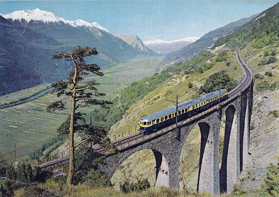 LOETSCHBERG RAILWAY -  'Blue Arrow' EMU on the southern ramp of the Valais.