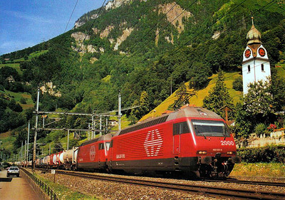 SWITZERLAND - 460 051 and 460 039 head a heavy express freight train head over the Alps on the 'Gothard Line' in July 1998 - SBB has 119 of these 230km/h 'Lok 2000' locos, built from 1991.