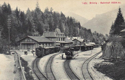 SBB - BRUNIG - steam engines maneouvre in the station at Brunig in July 1908. Note that these engines are of the mountain rack type with angled boilers.
