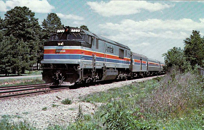 AMTRAK - 723 - an FP40CH loco powers the southbound 'Panama Limited' past Terry, Mississippi, in 1977, en route from Chicago to New Orleans.