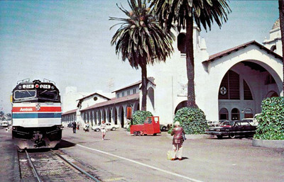 AMTRAK - 214 - a class FP40 loco sits at San Diego, California, awaiting deaprture on the 'San Diegan'.