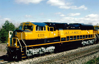 ALASKA RAILROAD - 4319 - an SD70MAC loco equipeed with train heating apparatus for passenger services on the 500 mile Alaska Railroad. The railway has no physical connection with any other.