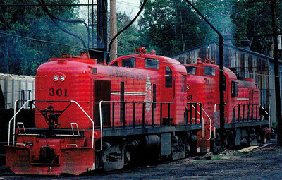 ANN ARBOR RAILROAD - 301/303 - ALCO Class RS2's idle outside Toledo Depot in the Summer of 1980.