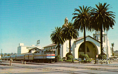 AMTRAK - 229 - an F40PH Class loco sits at the head of the morning train from Los Angeles in San Diego in August 1976.