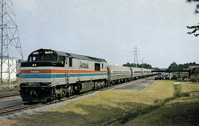 AMTRAK - 714 - an FP30CH locomtives heads the northbound 'Palmetto' (Savannah - New York) at Richmond, Va., in 1976/.