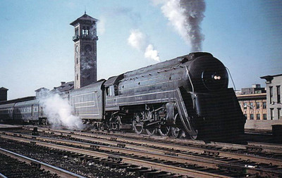 BALTIMORE & OHIO RAILROAD - 5303 - a 4-6-2 built by Baldwin in 1927 and streamlioned for the 'Cincinnatian', seen here at Union Station, Dayton, Ohio in 1956.