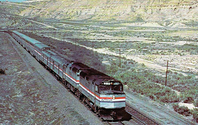 AMTRAK - 319/320 - Class FP40PH locos provide the power for the 'San Francisco Zephyr' at Rock Springs, Wyoming, in 1982.