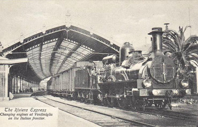 ITALY - VENTIMIGLIA RAILWAY STATION - 7km inside the Italian border in Liguria, this was the engine changing point for international trains. Here PLM 2-4-2 No.698 is about to depart with a westbound train in about 1910.
