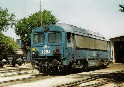 GREECE - OSE - A254 - 11 of these Class A250 hydraulics wewre built by Ganz/MAVAG in 1982, basically similar to the MAV M41 - all are now withdrawn - seen here at Volos in June 1999.