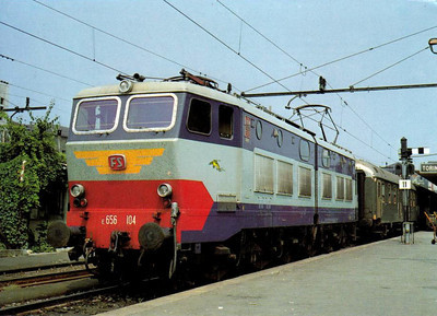 ITALY - FS - E656 104 - one of 464 Bo-Bo-Bo express passenger locomotives built from 1975, many of which have been rebuilt as Class E655 freight locos, seen here at Turin in 1980.
