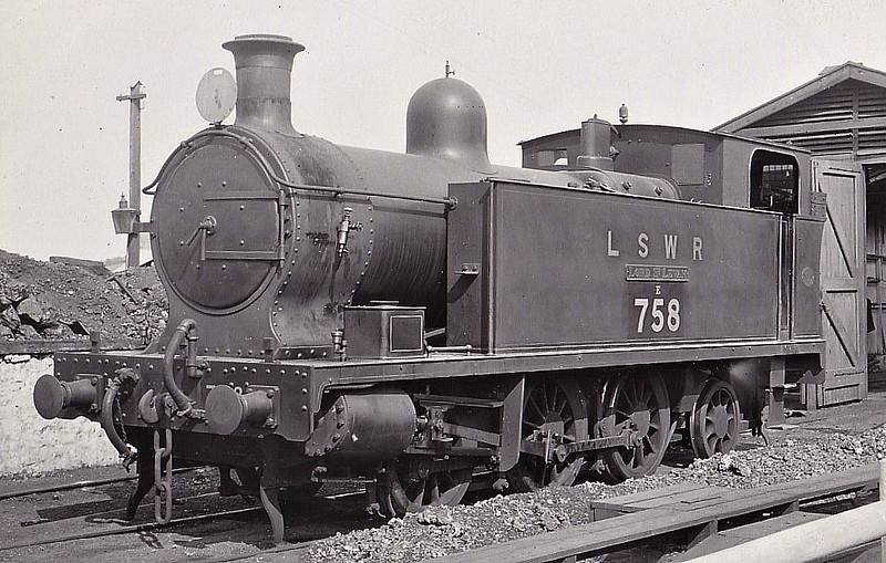 "PLYMOUTH, DEVONPORT & SOUTH WEST JUNCTION RAILWAY - No.5 LORD ST LEVEN - 0-6-2T built 1907 by Hawthorne Leslie & Co. - 1923 to SR No.758, 11/50 to BR No.30758 - No.5 stayed on the branch until September 1952 when Ivatt 2-6-2T's took over and it moved to Eastleigh on shunting duites, form where it was withdrawn in December 1956 - seen here just after Grouping showing some confusion as to its identity!<br /> The Plymouth, Devonport and South Western Junction Railway constructed a main line railway between Lydford and Devonport enabling the London and South Western Railway to reach Plymouth more conveniently than before. The line was worked by the LSWR as part of its own system. The PD&SWJR then built a branch from Bere Alston to Callington opened on March 2nd, 1908, using the new Bere Alston and Calstock Light Railway and the East Cornwall Mineral Railway which was re-gauged from 3' 6"" to standard gauge. The branch was engineered under the supervision of Colonel Stephens and it was operated independently and not by the LSWR. For this extension three steam locomotives were purchased from Hawthorn Leslie and Company. The new locomotive's livery was blue with brass dome covers and chimney caps and they were named after the company's directors. The two 0-6-2Ts were named Lord St Leven and Earl of Mount Edgecumbe and the 0-6-0T was named A S Harris. The LSWR actually absorbed the PD&SWJR just prior to the grouping and Numbers 3-5 were repainted in LSWR sage green livery and then re-numbered 756 to 758."