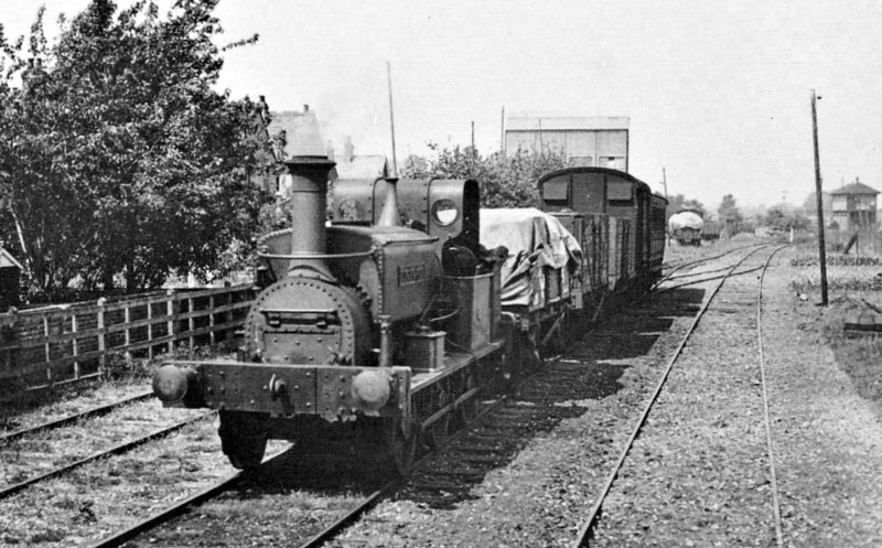 SELSEY TRAMWAY - RINGING ROCK - 0-6-0ST built by Manning Wardle & Co. in 1883 for industrial use - 1935 scrapped on closure of the line - seen here at Chichester with a mixed train.<br /> The Hundred of Manhood and Selsey Tramway, to give its full title, ran from Chichester to Selsey, a distance of 7.25 miles, and opened to Selsey Town in August 1897. In 1898, the line was extended to Selsey Beach, this extension closing in 1908. The line prospered until the early 1920's but thereafter traffic dropped off alarmingly and the line closed in 1935.