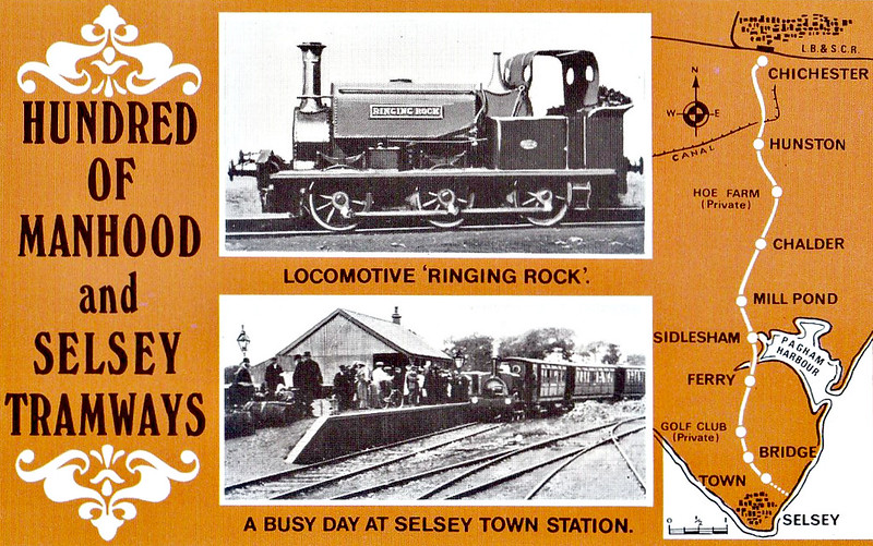 SELSEY TRAMWAY -  RINGING ROCK - 0-6-0ST built by Manning Wardle & Co. in 1883 for industrial use - 1935 scrapped on closure of the line. I think the loco in the bottom picture is SIDLESHAM.<br /> The Hundred of Manhood and Selsey Tramway, to give its full title, ran from Chichester to Selsey, a distance of 7.25 miles, and opened to Selsey Town in August 1897. In 1898, the line was extended to Selsey Beach, this extension closing in 1908. The line prospered until the early 1920's but thereafter traffic dropped off alarmingly and the line closed in 1935.