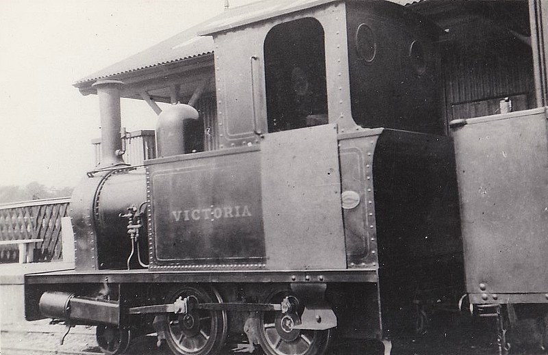 RYE & CAMBER TRAMWAY - VICTORIA - 2-4-0T built 1897 by Bagnall & Co. - sold in 1937.<br /> The Rye and Camber Tramway was of 914 mm, 3 foot,  narrow gauge, relatively unusual amongst British narrow gauge railways. It operated from 1895 until 1939, connecting Rye to the coast. It was about 1.75 miles in length, and had three stations - Rye, Golf Links and Camber Sands. It operated mainly to transport golfers to the golf links and holidaymakers to the coastal dunes. Although initially quite successful, increasing competition from automobile and bus transport eventually caused the tramway to enter a gradual decline. Passenger service was ended at the outbreak of World War II but it was extensively used by the Government to convey parts for the P.L.U.T.O. (Pipe Line Under The Ocean) project for which a special siding leading to a new pier near Golf Links Station was constructed by Canadian troops. The line was in such a run-down a condition by the end of the war that it was deemed irrecoverable and was sold for scrap in 1947.