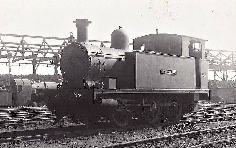 """PLYMOUTH, DEVONPORT & SOUTH WEST JUNCTION RAILWAY - No.3 A.S. HARRIS - 0-6-0T built 1907 by Hawthorne Leslie & Co. - 1923 to SR No.756 - BR No.30758 not applied - 11/51 withdrawn from 71A Eastleigh - No.3 was replaced on the line by a Class O2 0-4-4T in June 1929, from when it was engaged in shunting duties at Eastleigh.<br /> The Plymouth, Devonport and South Western Junction Railway constructed a main line railway between Lydford and Devonport enabling the London and South Western Railway to reach Plymouth more conveniently than before. The line was worked by the LSWR as part of its own system. The PD&SWJR then built a branch from Bere Alston to Callington opened on March 2nd, 1908, using the new Bere Alston and Calstock Light Railway and the East Cornwall Mineral Railway which was re-gauged from 3' 6"""" to standard gauge. The branch was engineered under the supervision of Colonel Stephens and it was operated independently and not by the LSWR. For this extension three steam locomotives were purchased from Hawthorn Leslie and Company. The new locomotive's livery was blue with brass dome covers and chimney caps and they were named after the company's directors. The two 0-6-2Ts were named Lord St Leven and Earl of Mount Edgecumbe and the 0-6-0T was named A S Harris. The LSWR actually absorbed the PD&SWJR just prior to the grouping and Numbers 3-5 were repainted in LSWR sage green livery and then re-numbered 756 to 758."""