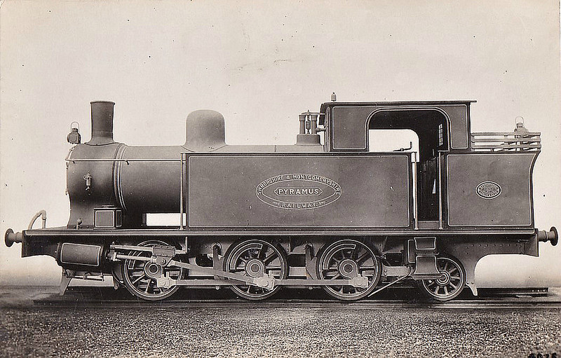 SHROPSHIRE & MONTGOMERYSHIRE LIGHT RAILWAY- No.5 PYRAMUS - 0-6-2T built 1911 by Hawthorn Leslie & Co. - 1916 to Government for military use, to WD No.WD84 - about 1931 withdrawn and offered for sale. <br /> The Shropshire & Montgomeryshire Light Railway was a railway running from Shrewsbury to Llanymynech, Wales, opened in 1911 with a branch to Criggion. It was part of Colonel Stephens' railway empire. The line was taken over by the War Department in 1941, and extensively reconstructed to serve Central Ammunition Depot Nesscliffe. It was finally closed in 1960.
