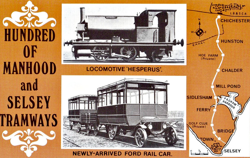 SELSEY TRAMWAY - HESPERUS - 0-4-2ST - built 1871 by Neilson & Co. and obtained from the PD&SWJR, regauged from 3 foot 6 inches - withdrawn before closure. The Ford Railcars were new in 1924 and operated in a pair with a baggage truck between them, only the leading car powered.<br /> The Hundred of Manhood and Selsey Tramway, to give its full title, ran from Chichester to Selsey, a distance of 7.25 miles, and opened to Selsey Town in August 1897. In 1898, the line was extended to Selsey Beach, this extension closing in 1908. The line prospered until the early 1920's but thereafter traffic dropped off alarmingly and the line closed in 1935.