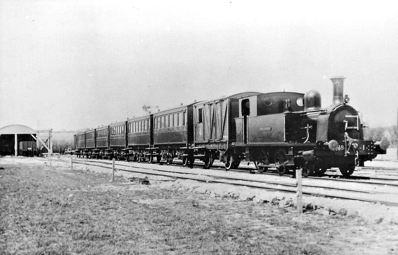 KENT & EAST SUSSEX RAILWAY - No.1 TENTERDEN - 2-4-0T built 1899 by Hawthorn Leslie & Co., new for the opening of the line - 1938 withdrawn for overhaul, 1941 scrapped - seen here when new.<br /> The Kent & East Sussex Railway was opened piecemeal between 1900 and 1905. It ran between Headcorn and Robertsbridge, a distance of just over 21 miles, and was one of Colonel Stephens' railways. It never ran at a profit and became part of BR in 1948. The last passenger train ran in June 1961 and the final section closed to freight in January 1970. Since then, it has been revived by a preservation group.