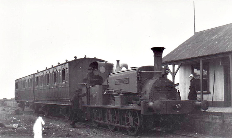 SELSEY TRAMWAY - RINGING ROCK - 0-6-0ST built by Manning Wardle & Co. in 1883 for industrial use - 1935 scrapped on closure of the line - seen here at Selsey.<br /> The Hundred of Manhood and Selsey Tramway, to give its full title, ran from Chichester to Selsey, a distance of 7.25 miles, and opened to Selsey Town in August 1897. In 1898, the line was extended to Selsey Beach, this extension closing in 1908. The line prospered until the early 1920's but thereafter traffic dropped off alarmingly and the line closed in 1935.