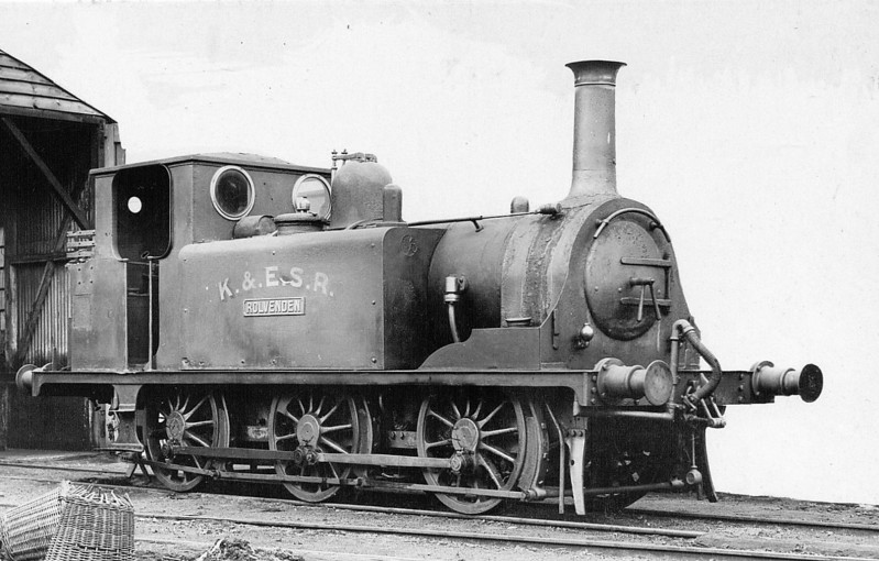 KENT & EAST SUSSEX RAILWAY - No.5 ROLVENDEN - Stroudley LBSCR Class A1X 0-6-0T - built 09/1872 by Brighton Works as LBSCR No.71 WAPPING - 06/01 to LBSCR No.671 WAPPING, 01/05 sold to K&ESR as No.5 ROLVENDEN - withdrawn in 1932, cannibalised in 1933 and scrapped in 1938. <br /> The Kent & East Sussex Railway was opened piecemeal between 1900 and 1905. It ran between Headcorn and Robertsbridge, a distance of just over 21 miles, and was one of Colonel Stephens' railways. It never ran at a profit and became part of BR in 1948. The last passenger train ran in June 1961 and the final section closed to freight in January 1970. Since then, it has been revived by a preservation group.