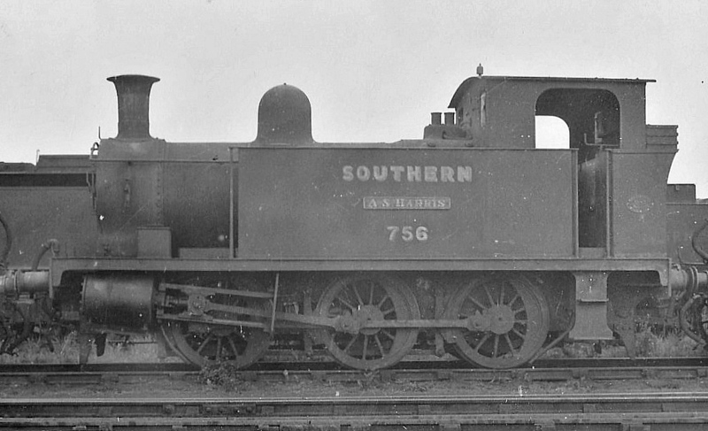 "PLYMOUTH, DEVONPORT & SOUTH WEST JUNCTION RAILWAY - No.3 A.S. HARRIS - 0-6-0T built 1907 by Hawthorne Leslie & Co. - 1923 to SR No.756 - BR No.30758 not applied - 11/51 withdrawn from 71A Eastleigh - No.3 was replaced on the line by a Class O2 0-4-4T in June 1929, from when it was engaged in shunting duties at Eastleigh.<br /> The Plymouth, Devonport and South Western Junction Railway constructed a main line railway between Lydford and Devonport enabling the London and South Western Railway to reach Plymouth more conveniently than before. The line was worked by the LSWR as part of its own system. The PD&SWJR then built a branch from Bere Alston to Callington opened on March 2nd, 1908, using the new Bere Alston and Calstock Light Railway and the East Cornwall Mineral Railway which was re-gauged from 3' 6"" to standard gauge. The branch was engineered under the supervision of Colonel Stephens and it was operated independently and not by the LSWR. For this extension three steam locomotives were purchased from Hawthorn Leslie and Company. The new locomotive's livery was blue with brass dome covers and chimney caps and they were named after the company's directors. The two 0-6-2Ts were named Lord St Leven and Earl of Mount Edgecumbe and the 0-6-0T was named A S Harris. The LSWR actually absorbed the PD&SWJR just prior to the grouping and Numbers 3-5 were repainted in LSWR sage green livery and then re-numbered 756 to 758."