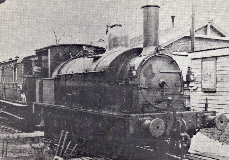 KENT & EAST SUSSEX RAILWAY - No.4 - Beattie LSWR Class 0330 0-6-0ST - built 1876 by Beyer Peacock as LSWR No.335 - 1907 to Duplicate List as No.0335 - 07/32 to K&ESR in part exchange for 0-8-0T No.4 Hecate - 08/48 withdrawn - seen here at Tenterden Town, 03/34.<br /> The Kent & East Sussex Railway was opened piecemeal between 1900 and 1905. It ran between Headcorn and Robertsbridge, a distance of just over 21 miles, and was one of Colonel Stephens' railways. It never ran at a profit and became part of BR in 1948. The last passenger train ran in June 1961 and the final section closed to freight in January 1970. Since then, it has been revived by a preservation group..