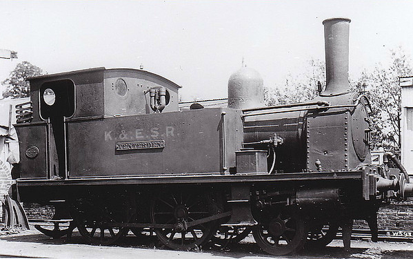 KENT & EAST SUSSEX RAILWAY - No.1 TENTERDEN - 2-4-0T built 1899 by Hawthorne Leslie, Works No.2420 - 1938 withdrawn for overhaul, 1941 scrapped - bought new for the opening of the line. The Kent & East Sussex Railway was opened piecemeal between 1900 and 1905. It ran between Headcorn and Robertsbridge, a distance of just over 21 miles, and was one of Colonel Stephens' railways. It never ran at a profit and became part of BR in 1948. The last passenger train ran in June 1961 and the final section closed to freight in January 1970. Since then, it has been revived by a preservation group.