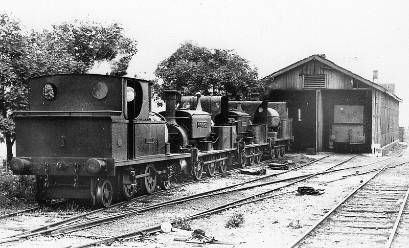 SELSEY TRAMWAY - ON SHED AT SELSEY - The locos assembled here, from front to back, are SELSEY (Peckett 2-4-2T of 1897), RINGING ROCK (Manning Wardle 0-6-0ST of 1883, SIDLEHAM (Manning Wardle 0-6-0ST of 1861) and CHICHESTER (Hudswell Clarke 0-6-0ST of 1903) - seen in July 1927.<br /> The Hundred of Manhood and Selsey Tramway, to give its full title, ran from Chichester to Selsey, a distance of 7.25 miles, and opened to Selsey Town in August 1897. In 1898, the line was extended to Selsey Beach, this extension closing in 1908. The line prospered until the early 1920's but thereafter traffic dropped off alarmingly and the line closed in 1935.