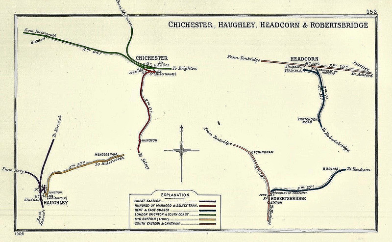 A map showing the junctions of the Selsey Tramway with the LBSCR at Chichester and the Kent & East Sussex Railway at Robertsbridge and Headcorn. Also included is the MSLR junction at Haughley.