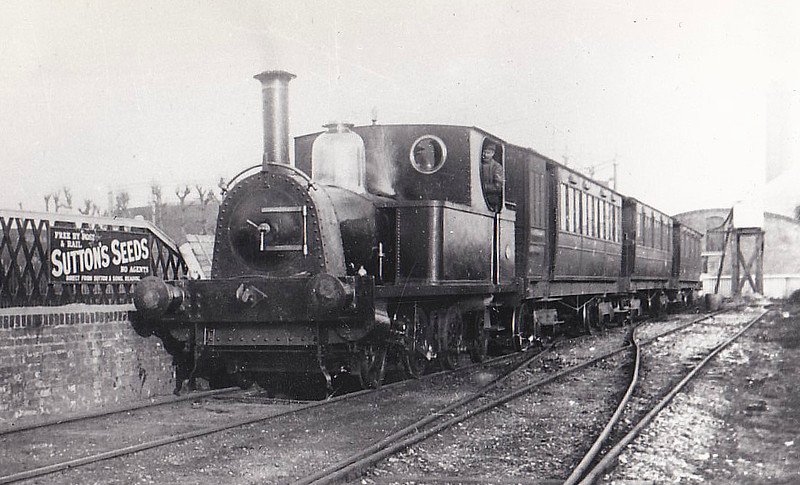 SELSEY TRAMWAY - SELSEY - 2-4-2T built 1897 by Peckett & Sons - new to the line - 1935 scrapped on closure of the line - seen here at Chichester.<br /> The Hundred of Manhood and Selsey Tramway, to give its full title, ran from Chichester to Selsey, a distance of 7.25 miles, and opened to Selsey Town in August 1897. In 1898, the line was extended to Selsey Beach, this extension closing in 1908. The line prospered until the early 1920's but thereafter traffic dropped off alarmingly and the line closed in 1935.
