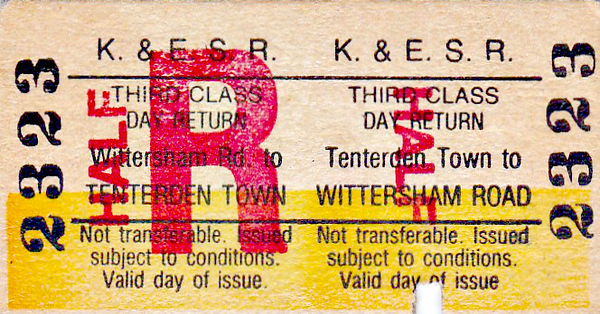 KENT & EAST SUSSEX RAILWAY - TENTERDEN TOWN to WITTERSHAM ROAD - Third Class Child Day Return to Wittersham Road - dated April 6th, 1938.